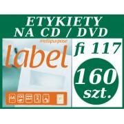 ETYKIETA biała samoprzylepna A4 na CD fi 117,0mm